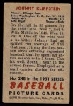 1951 Bowman #248  Johnny Klippstein  Back Thumbnail