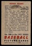 1951 Bowman #288  Bobby Adams  Back Thumbnail