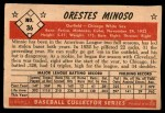 1953 Bowman #36  Minnie Minoso  Back Thumbnail