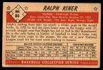 1953 Bowman #80  Ralph Kiner  Back Thumbnail