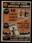 1972 Topps #50   -  Willie Mays In Action Back Thumbnail
