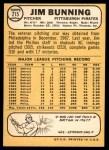 1968 Topps #215  Jim Bunning  Back Thumbnail