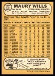 1968 Topps #175  Maury Wills  Back Thumbnail