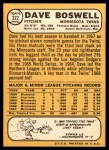 1968 Topps #322  Dave Boswell  Back Thumbnail