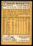 1968 Topps #46  Dave Ricketts  Back Thumbnail