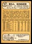 1968 Topps #249  Bill Singer  Back Thumbnail