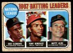 1968 Topps #1   -  Matty Alou / Roberto Clemente / Tony Gonzalez NL Batting Leaders Front Thumbnail
