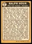 1968 Topps #47  Ralph Houk  Back Thumbnail