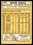 1968 Topps #17  Dick Hall  Back Thumbnail