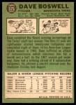 1967 Topps #575  Dave Boswell  Back Thumbnail
