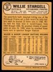 1968 Topps #86  Willie Stargell  Back Thumbnail