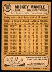 1968 Topps #280  Mickey Mantle  Back Thumbnail