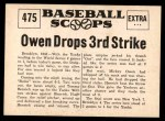1961 Nu-Card Scoops #475   -   Mickey Owen  Owen Drops Third Strike Back Thumbnail