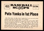 1961 Nu-Card Scoops #453   -   Yogi Berra  Homer By Berra Puts Yanks in 1st Place Back Thumbnail