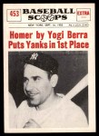 1961 Nu-Card Scoops #453   -   Yogi Berra  Homer By Berra Puts Yanks in 1st Place Front Thumbnail