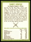 1963 Fleer #42  Sandy Koufax  Back Thumbnail