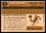 1960 Topps #4  Bob Purkey  Back Thumbnail