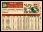 1959 Topps #206  Carl Furillo  Back Thumbnail