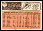1966 Topps #580  Billy Williams  Back Thumbnail