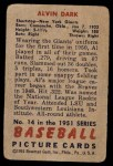 1951 Bowman #14  Al Dark  Back Thumbnail