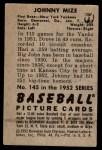 1952 Bowman #145  Johnny Mize  Back Thumbnail