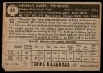1952 Topps #80  Herm Wehmeier  Back Thumbnail