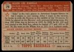 1952 Topps #70  Al Zarilla  Back Thumbnail