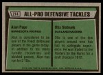 1975 Topps #214   -  Alan Page / Otis Sistrunk All-Pro Defensive Tackles Back Thumbnail