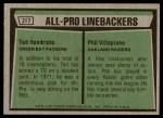 1975 Topps #217   -  Ted Hendricks / Phil Villapiano All-Pro Linebackers Back Thumbnail
