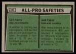 1975 Topps #223   -  Cliff Harris / Jack Tatum  All-Pro Safeties Back Thumbnail