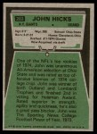1975 Topps #283  John Hicks  Back Thumbnail