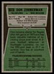 1975 Topps #192  Don Zimmerman  Back Thumbnail