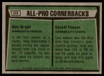 1975 Topps #220   -  Nate Wright / Emmitt Thomas All-Pro Cornerbacks Back Thumbnail