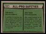 1975 Topps #223   -  Cliff Harris / Jack Tatum  All-Pro Safeties Back Thumbnail
