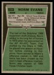 1975 Topps #234  Norm Evans  Back Thumbnail