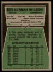 1975 Topps #252  Nemiah Wilson  Back Thumbnail