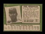 1971 Topps #211  Phil Hennigan  Back Thumbnail