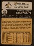 1973 Topps #428  Wayne Simpson  Back Thumbnail