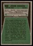 1975 Topps #162  John Didion  Back Thumbnail