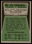 1975 Topps #192  Don Zimmerman  Back Thumbnail