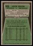 1975 Topps #258  Jack Snow  Back Thumbnail
