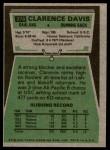 1975 Topps #278  Clarence Davis  Back Thumbnail