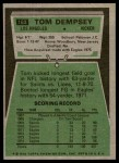 1975 Topps #163  Tom Dempsey  Back Thumbnail