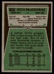 1975 Topps #178  Rich McGeorge  Back Thumbnail