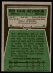 1975 Topps #185  Paul Seymour  Back Thumbnail