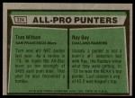 1975 Topps #224   -  Tom Wittum / Ray Guy All-Pro Punters  Back Thumbnail