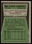 1975 Topps #245  Claude Humphrey  Back Thumbnail