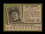1971 Topps #17   -  Billy Sorrell    Back Thumbnail