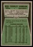 1975 Topps #295  Charley Johnson  Back Thumbnail