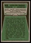 1975 Topps #303  Verlon Biggs  Back Thumbnail